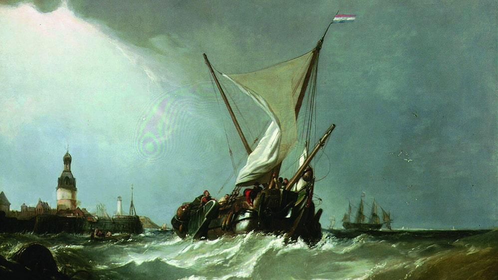Desc: A Dutch Blazer Coming Out of Monnickendam, Zuyder Zee, oil on canvas • Artist: STANFIELD, William Clarkson : 1793-1867 : English • Credit: [ The Art Archive / Garrick Club / Garrick Club ] • Ref: AA342554
